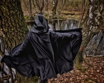 The Velvet Night black hooded cloak cape