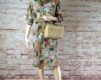 1980's vintage flowers art polyester dress