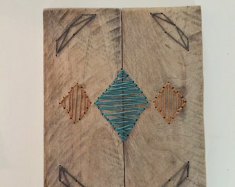 Diamond Pattern, Hand Embroidery, Wood Wall Art