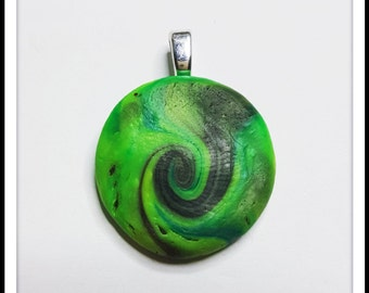 Polymer clay pendant- Green and black swirl