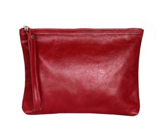 Leather Clutch. Red Handbag