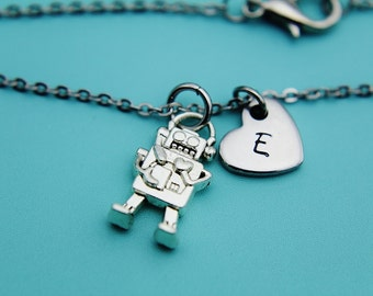 Silver Robot Charm Bracelet, Silver Robot Heart Charm Bracelet, Silver Robot Charm, Silver Bracelet, Robot Jewelry, Gifts for Her under 30