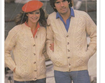 PDF Knitting Pattern-Aran Cardigan Knitting pattern- Ladies & Gents styles- fits chest 34-44 inches