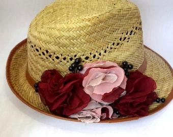 Burgundy Flowers Straw Hat, Woman's Beach Sun Hat, Summer Hat with Flowers