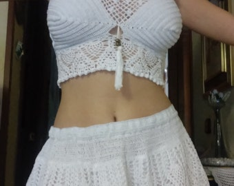 set top and skirt crochet
