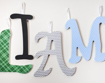 "Custom Wooden Letter Names, Baby Boy Nursery 9"" letters, no embelishments"