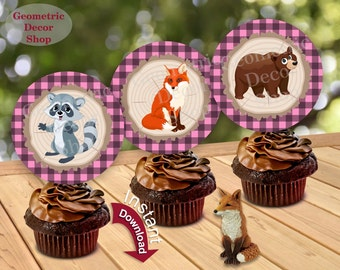 Instant Download Woodland Birthday Cupcake Toppers Centerpiece Stickers Gift Tags Pink Plaid Girl bear fox Lumberjack Baby Shower CTLJ1