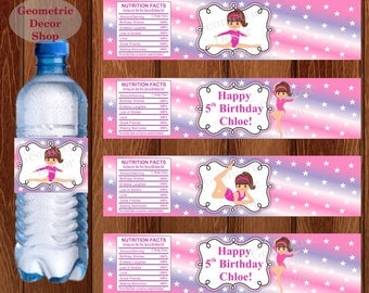 Water Bottle Labels Birthday Printable Gymnastics Gymnastic Party Printable Girl Pink Purple Party pink purple WLG2