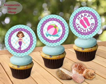 Instant Download Mermaid CENTERPIECES Cupcake Toppers Centerpiece Pool party Stickers Gift Tags Box swimming purple aqua pink swim CTPMER1