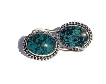 Turquoise 925 Sterling Silver Drop Earrings