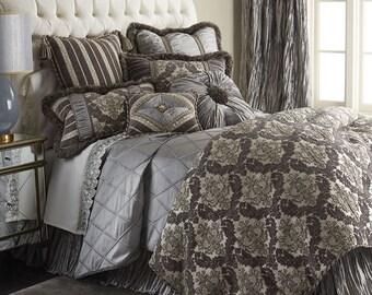 Dian Austin Couture Home St. Germain 9 pc Queen Bedding Set Platinum