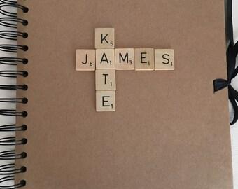 Vintage Scrabble Piece Wedding Guest Book