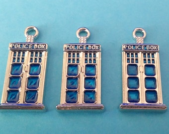 3 SMALL Silver and Blue Tardis Charm | Doctor Who Police Box | 2000