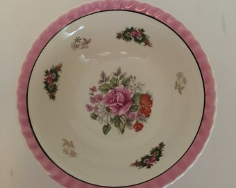 Vintage Decorative, Collectible Serving Bowl Made in Japan, Floral, Opalescent