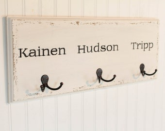 Wall Hooks - Back To School - Book Bag Holder - Coat Rack - Personalized Organization - Towel Hooks