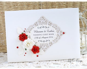 Luxury Vintage Personalised Handmade Wedding Anniversary Guest Book IVORY I All Colors