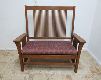 Stickley Mission Spindle Settee Oak Sofa Couch A