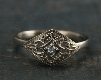 14K White Gold Daughter of Eve Ring--Art Deco Ring--Vintage Look--Filigree Setting--Diamond Ring--Unique Engagement Ring