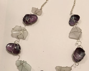 custom clear seaglass and purple shell necklace
