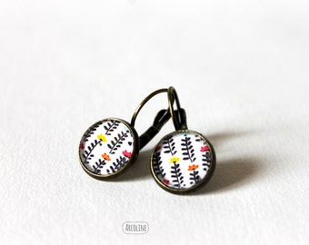 Sleeper Cabochon Retro minimalist flowers earrings