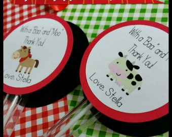 6 Personalized Farm Animal Themed Bubble Favors, Barn Party  Favors, Bubble Favors