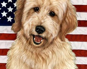 Goldendoodle Blonde - Tamara Burnett Patriotic II Flag: 28 x 40 inches