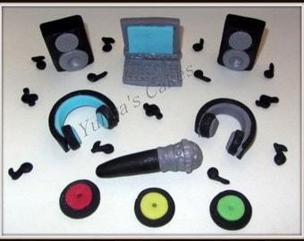 Edible 3d DJ cake/cupcakes topper,headphones,speakers,laptop,vinyl records,microphone,music notes,handmade decoration