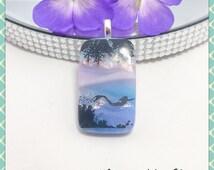 Landscape Pendant, Scenic Pendant, Sea & Mermaid Decal, Dichroic Fused Glass Jewellery Necklace Pendant, By Minerva Hot Glass