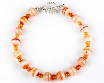Happy - bracelet of Banded Agate and Cornelian