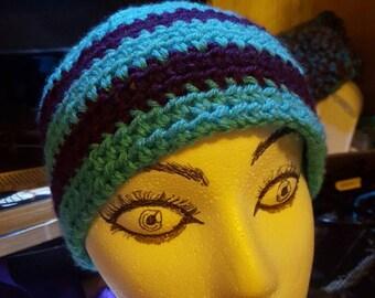Turquoise and Purple Skull Cap