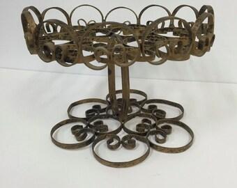 Vintage metal pedestal stand