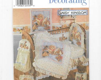Daisy Kingdom Nursery Decor, Simplicity 7674, Sewing Pattern, Nursery Accessories, Diaper Stacker, Pillow Cover, Dust Ruffle, Sheet, UNCUT