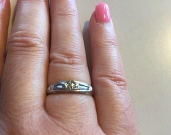 Vintage 1950's 14 Karat White Gold Promise Ring.