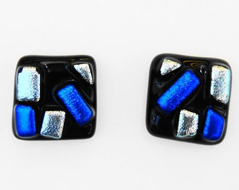 Dichroic Glass Post Earrings Icy Blue and Silver