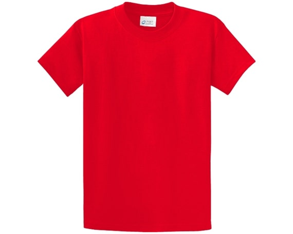 Youth red blank no pocket tshirt tee shirt port by for The red t shirt company