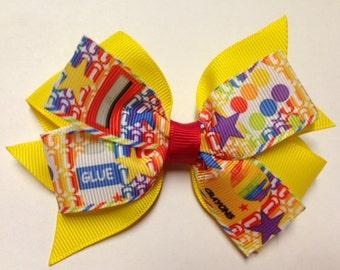 "4"" paints rainbow star glue red yellow rainbow crayon hair bow clip baby toddler kindergarten teen home school barrette pre 1st 2nd grade"