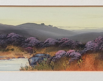 Grouse Moor  North Yorkshire Landscape,  Original Painting - North Yorkshire Moors Gouach / Watercolour, Purple Heather,