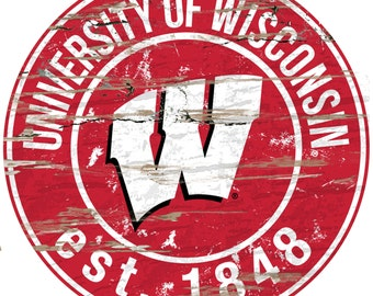 "NCAA University of Wisconsin Round Distressed Established Wood Sign 24"" Diameter"