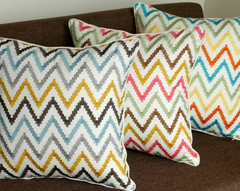 Free Shipping-ZigZag Multi Embroidered Pillow Cover Decorative pillow case Birthday Gift Home Decor Geometrical Pillow Throw Pillow