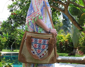 100% Leather Caramel Suede Banjara Tribal Bag.  Antique Beading Feature.  Cotton Lining.  Northern Indian. One Only!