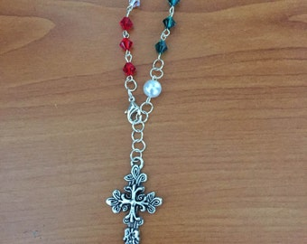 Red, White, Green (Mexican) Bracelet Rosary
