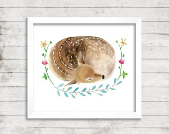 Sleeping Fawn - Archival Giclée Print. Watercolor Art. Colorful Nature Decor. Archival Print. Woodland. Woods.