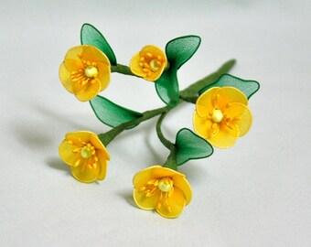 1 stem of buttercup flowers; handmade buttercup, yellow buttercup, unique handmade flower, unique gift, yellow nylon flowers