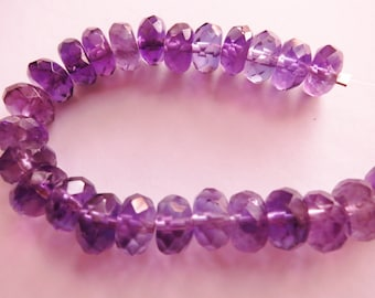 Faceted Amethyst Gemstone Rondelles - 8 x 5mm - 25 Gemstones