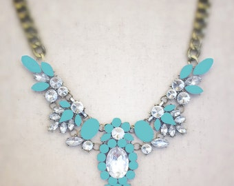 Turquoise statement necklace, blue necklace, mint statement necklace, turquoise statement necklace, gold statement necklace
