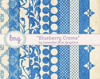 "Shabby Chic, Digital Papers, ""Blueberry Creme"", Junk Journal, Polka Dots, Damask Pattern, Floral Backgrounds, Vintage, Instant Download"