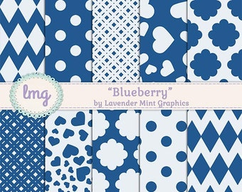 Blue Digital Scrapbook Paper Pack - Blueberry - Heart Pattern, Polka Dots, Chevron Pattern, Floral, Craft, Instant Download, Commercial Use