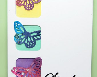 """Handmade """"sterkte"""" card with colorful butterflies"""
