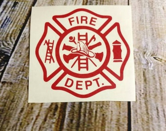 Firefighter decal, decal, firefighter Maltese,  car decal, fireman decal, decal, cup decal, computer decal, water bottle decal