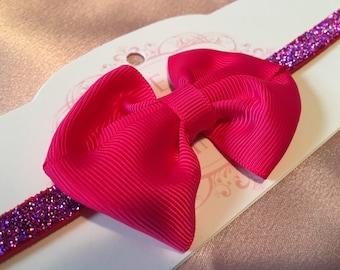 Hot Pink Skinny Sparkle Baby Headband